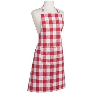 Now Designs Basic Cotton Kitchen Chef's Apron, Picnic Check Red