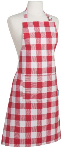 Red Barbecue Apron - Now Designs Basic Cotton Kitchen Chef's Apron, Picnic Check Red