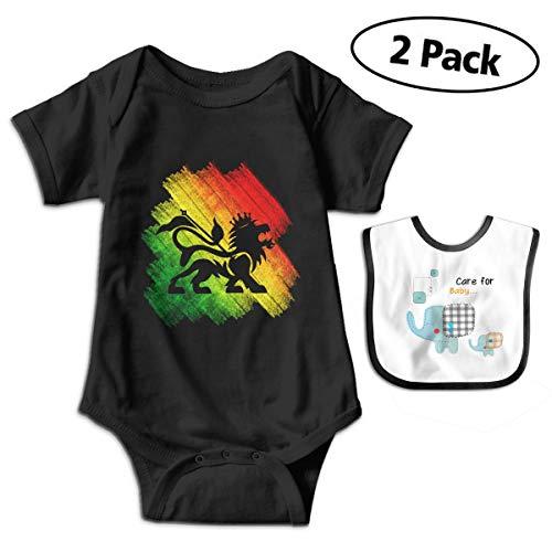 Bob Marley Baby Bib - CZnuen Reggae Rasta Flag Lion Girl's Jumpsuit Infant Baby Boy's Cotton Short Sleeve One-Piece Bodysuit 2T Black