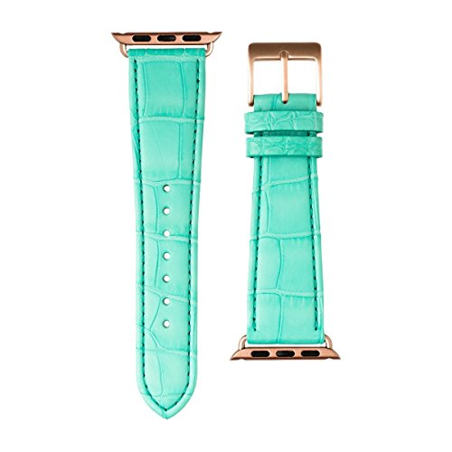 Roobaya | Premium Alligator Leather Apple Watch Band in Turquoise | Includes Adapters matching the Color of the Apple Watch, Case Color:Rose Gold Aluminum, Size:38 mm by Roobaya (Image #2)