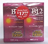 B-12 Methylcobalamin 1,000mcg Bonus Pack Natural Factors 90/90 Chewable