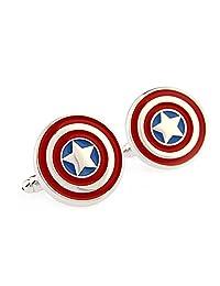 Hero Captain America cufflinks Red Blue men's cufflinks