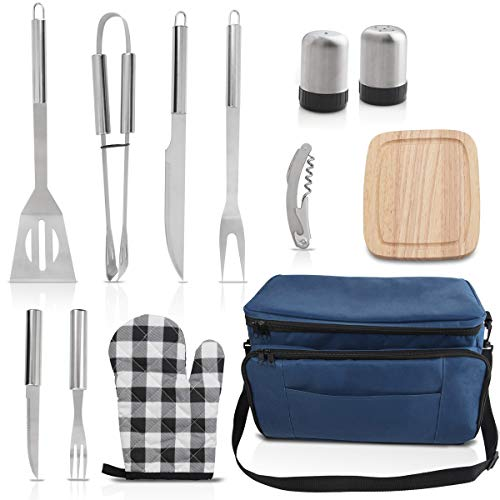 grilljoy Birthday Gift with Gift Wrapping Box for Men Women – 12pcs Stainless Steel BBQ Grill Accessories Tool Set with 15 can Blue Insulated Cooler Bag – All-in-one BBQ Picnic Cooler Bag