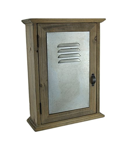 Wood & Metal Decorative Wall Hooks 13 In. Wall Mounted Wood And Metal Locker Style Key Cabinet 9.75 X 13 X 3.5 Inches (Unfinished Cupboard)
