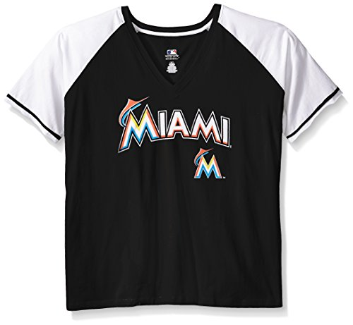 MLB Miami Marlins Women's Short Sleeve Raglan Deep V-Neck T-Shirt, 3X, Black/White – DiZiSports Store