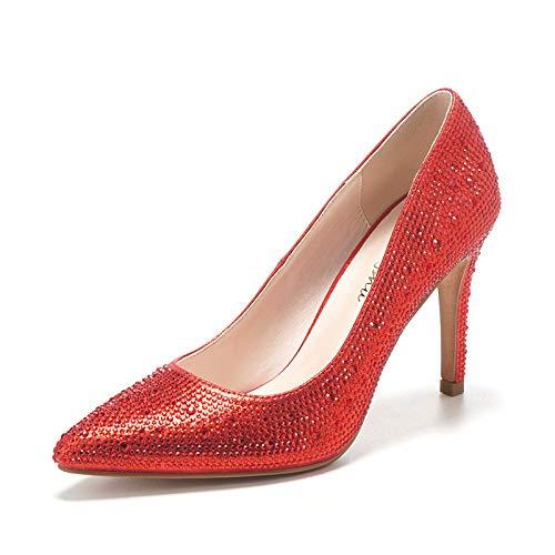 HOESCZS Chaussures Femmes À Pointues À Talons Hauts Automne Nouvelle Chaussures À Femmes Talons Hauts Stiletto Bouche Peu Profonde Strass Chaussures De Mariage 36 Red 6674cb