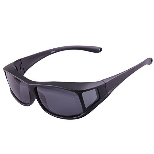 KULONG Fit Over Glasses Sunglasses Polarized Driving Men and Women Sunglasses (Matte ()