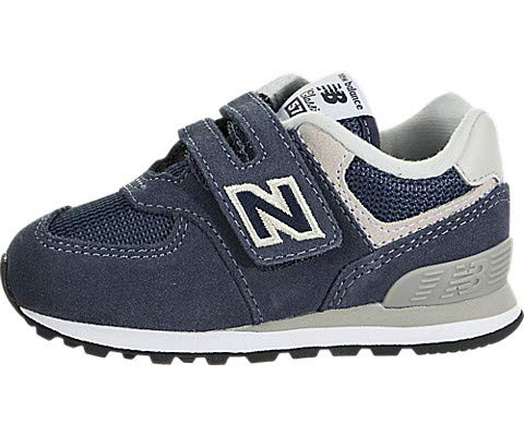 New Balance Boy's 574v1 Essentials Hook and Loop Sneaker,  Navy/Grey, 4 M US Toddler
