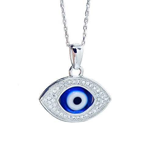 Crystal Blue Evil Eye Necklace for Protection and Good Luck (Blue) (Blue Evil Eye Necklace)