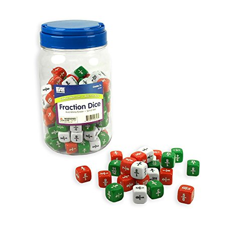 (EAI Education Fraction Dice: Red, White, and Green - Set of 144 )