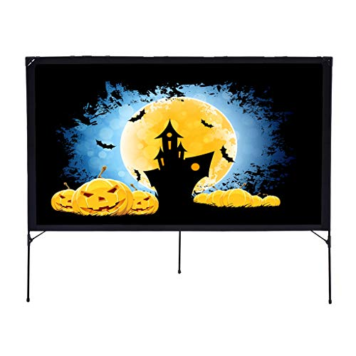 Portable Projector Screen with Tent Stand, Excelvan 16:9 Indoor Outdoor Screen Foldable DIY Display Projection Screen for Home Cinema Education Office Public Presentations(80 inch)