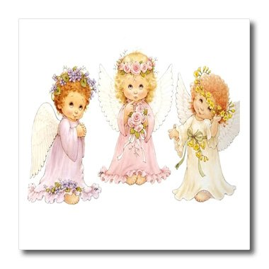 3dRose ht_100691_2 3 Little Angels-Iron on Heat Transfer for White Material, 6 by 6-Inch