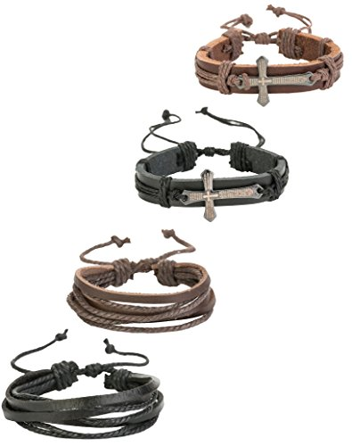 REVOLIA 4Pcs Leather Bracelets for Men Women Cross Cuff Bracelets