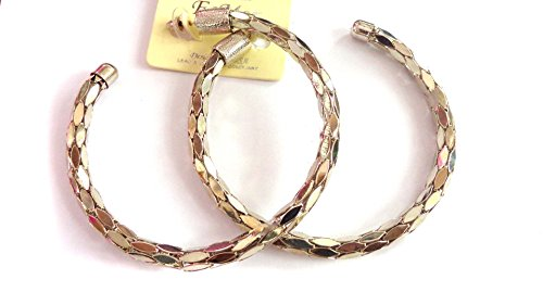 Caviar Chain Hoop Earrings Shiny Flex Hoop Silver 3.5 Inch Large Hoop Earrings ()