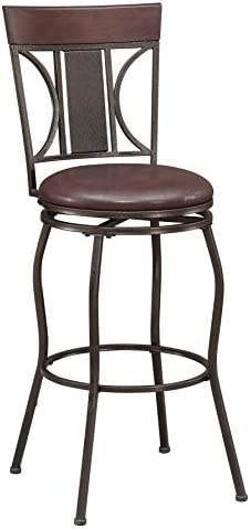 Ravenna Home Wood and Metal Detailed Swivel Kitchen Bar Stool, 44.5 Inch Height, Dark Espresso