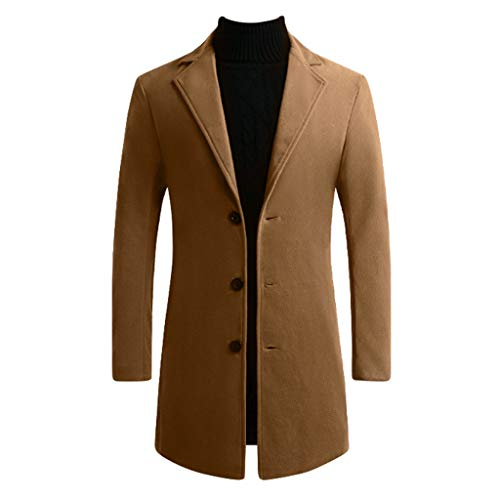 Men Bussiness Suit Coat, Male Solid Long Sleeve Windbreaker Long Blazer Outwear Winter