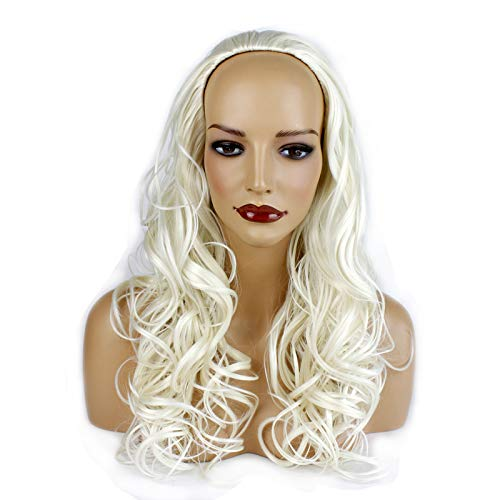 Ladies 3/4 Half Wig - Platinum Blonde #16/60 - Wavy Style - 22 Inches - 250g - Kanekalon Synthetic Fibre - Clip in Hair Piece - Looks and Feels Like Real Hair - by Elegant Hair -