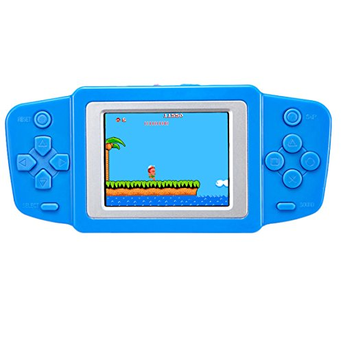 """Kids Handheld Game Console Retro Video Game Player Portable Arcade Gaming System Birthday Gift for Children Travel Holiday Recreation 2.5"""" Color LCD Screen 8 Bit 268 Classic Games (Sky Blue)"""