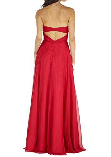 Lang Perlen Chiffon Festlich Partykleider Damen Hell A Ballkleider Charmant Traegerlos Abendkleider Rock Rosa Elegant Rot Linie FRwqcSv