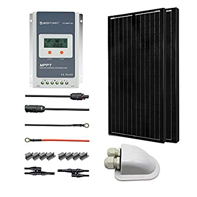 ACOPOWER Monocrystalline Panel Solar RV Kits with MPPT LCD Charge Controller/Mounting Brackets/Solar Cables/Cable Entry housing