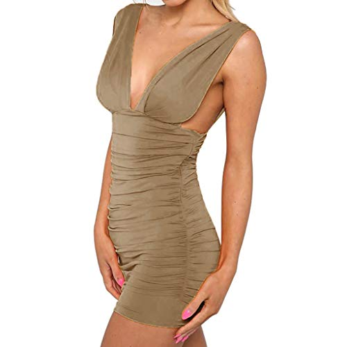 (Women's Sexy Summer Nightclub Dress,Great Valentine's Day Gift Deep V-Neck Blackless Prom Costume Ruhed Clothes)