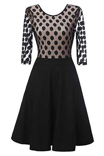 [Gigileer Women's 1950s Retro Vintage Middle Sleeve With Dots Pin up Swing Dress (XL(10-12))] (70s Look For Women)