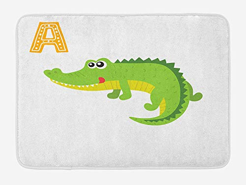 Emiqlandg Alligator Bath Mat, Letter A for Alligator Children Funny Animal Alphabet Kids Nursery ABC Theme, Plush Bathroom Decor Mat with Non Slip Backing, 23.6 W X 15.7 W Inches, ()