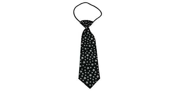 Yongshida Boys Polyester Elastic Neck Tie Black with White Star Style Pack Of 2