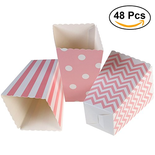 NUOLUX 48pcs Popcorn Boxes Cardboard Candy Container Rugby Stripe Wave Dot Pattern Deco