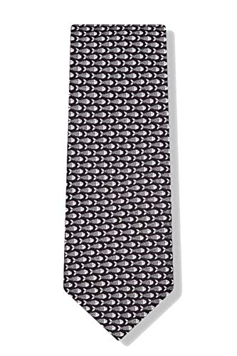 Men's 100% Black Silk Wouldn't Bead Caught Dead Bonefish Fish Necktie Tie Neckwear ()