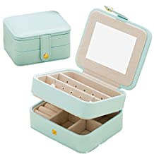 Jewelry Organizer Case-Nasion.V Travel Portable Storage Box for Earring,Lipstick,Necklace,Bracelet,Ring Light Blue