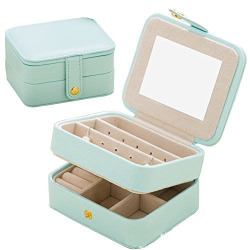 Jewelry Organizer Box-Nasion.V Travel Portable Jewelry Storage Case Accessories Holder Pouch Bulit-in Mirror with Environmental Faux Leather for Earring,Lipstick,Necklace,Bracelet,Rings Light Blue (Square Box Jewel)