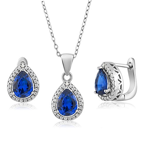 Simulated Sapphire Sterling Pendant Earrings product image