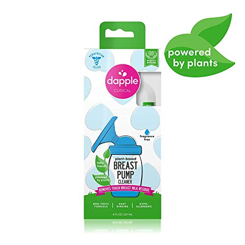 Dapple Breast Pump Cleaner, Plant-Based, Fragrance Free, 8 Ounce Bottle, Hypoallergenic, Liquid Soap for Breast Pumps and Breast Pump Parts