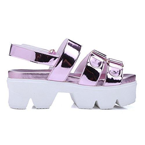 AmoonyFashion Womens High Heels Solid Buckle Open Toe Sandals Purple VthvX9