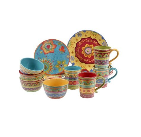Vibrant, Beautiful, Colorful 100% Ceramic 16-pc Dinnerware Set by Tunisian Sunset