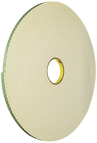 3M 4004 Natural Polyurethane Double Coated Foam Tape, 0.5
