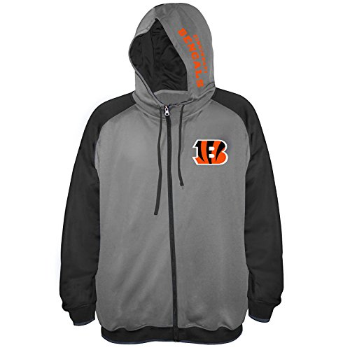 NFL Cincinnati Bengals Men FULL ZIP POLY FLEECE RAGLAN, CHARCOAL/BLACK, 6X 6x Full Zip Hooded Fleece