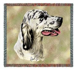 Pure Country 2362-LS English Setter Pet Blanket, Canine on Beige Background, 54 by 54-Inch (English Setter Tapestry)