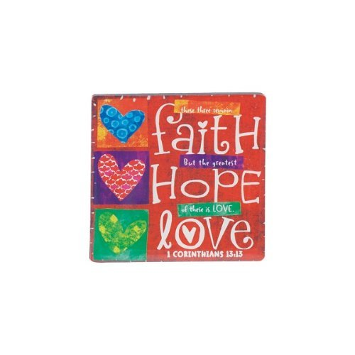 LCP Gifts Faith Hope Love Inspirational Magnet From the Color Block Series by Lighthouse Christian Products by Lighthouse Christian Products