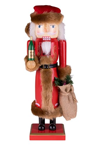 Clever Creations Traditional Wooden Old World Santa Claus Christmas Nutcracker Collectible Santa in Red Fur Trimmed Coat | Holiday Décor | with Tree & Burlap Sack | 100% Wood | 14