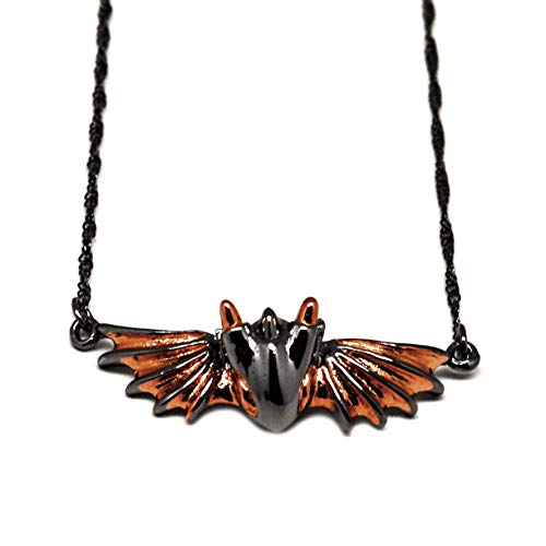 Twilight Dragon Necklace by MONVATOO London, a free-size 18k pink gold & black ruthenium plated over brass dragon necklace jewelry (Gold Pendant Twilight)