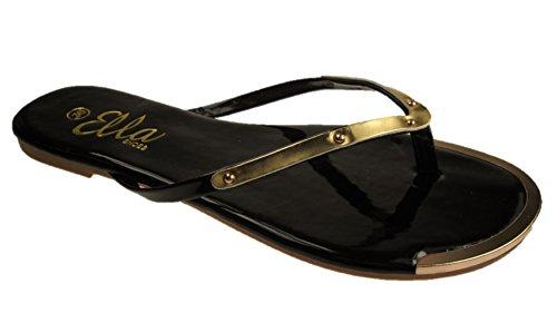 3 TOE GOLDIE Black POST LADIES ELLA FLAT 8 FASHION SANDALS SIZE wSq8txf