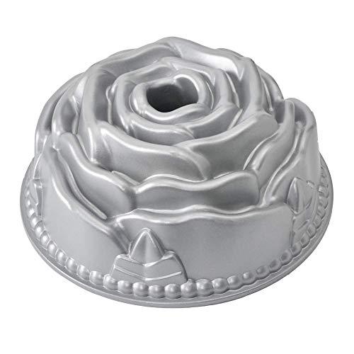 (Flower Bundt cake Pan Non-Stick 10 inches Fluted Tube Cake Pan Bakeware Rose Cast Aluminum Cake Mold (Renewed))