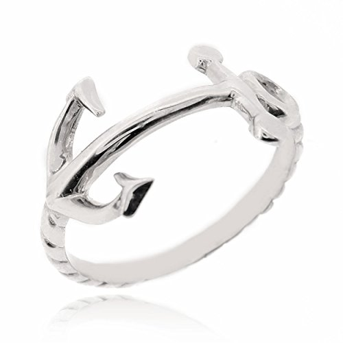 925 Sterling Silver Anchor and Rope Nautical Band Ring - 2