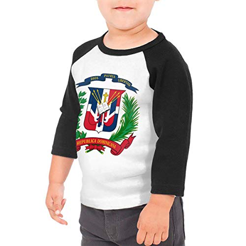 - ThsLinj-9 Baby Girls Kids Dominican Republic Flag Printed 3/4 Raglan Sleeve Tee Infants Tee Shirt Black