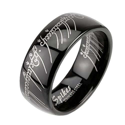 Eregion B: Replica the One Ring Hobbit Lord Of, Comfort Fit Black Plated 316 Steel, 3278B sz 11.0