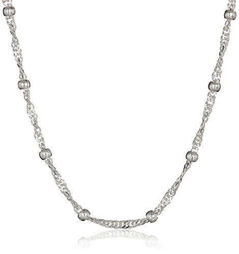 (Amazon Essentials Sterling Silver Singapore Bead Chain Station Necklace, 16