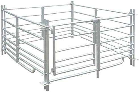 N/O Viel Spaß beim Einkaufen mit 4-Seiten Schafgehege Verzinkter Stahl 137 x 137 x 92 cm