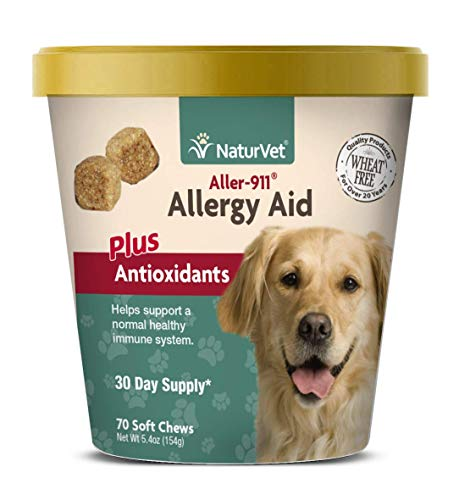 NaturVet - Aller-911 Allergy Aid Plus Antioxidants - 70 Soft Chews | Supports Immune System, Skin Moisture & Respiratory Health | Enhanced With Omegas, DHA & EPA | For Dogs - Vitamins Nutri Chewable